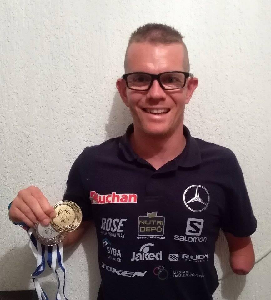 Boronkay Péter a Tiszaújvárosi Triatlon Klub és a Magyar Triatlon Szövetség által szervezett paratriatlon országos bajnokságon védte meg címét